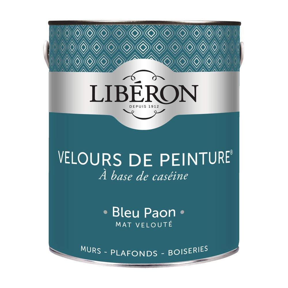 Peinture murale Velours de peinture Liberon 2,5L-couleur Bleu Paon-1000
